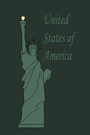 Illustration of Statue of Liberty in United States of America on green bacground