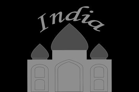 Illustration of Taj Mahal in India on black background