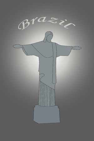 Illustration of Christ the Redeemer statue in Brazil on grey background