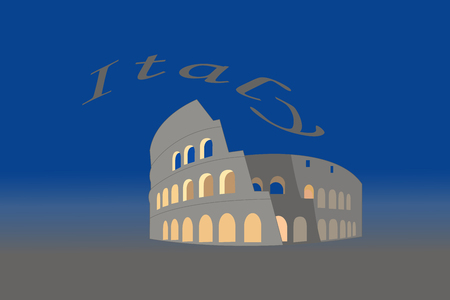 Illustration of Colosseum in Italy on blue and grey background