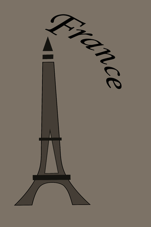 Illustration of Eiffel Tower in France on brown background