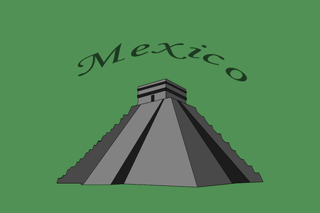 Illustration of Chichen Itza in Mexico on green background Иллюстрация