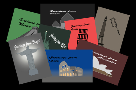 Illustration of postcards from all a round the world on black background