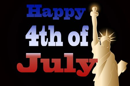 4th of July greeting card with Statue of Liberty Иллюстрация