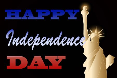 Independence Day greeting card with Statue of Liberty
