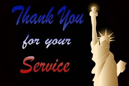 Thank you for your service tkank you card with Statue of Liberty