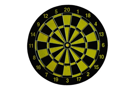 Yellow Dart board isolated on white photo
