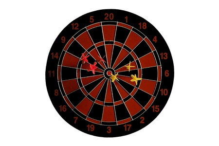 Dart board pinned by dart arrows isolated on white photo