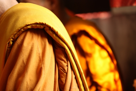 cassock: Yellow robe of thai monk Stock Photo