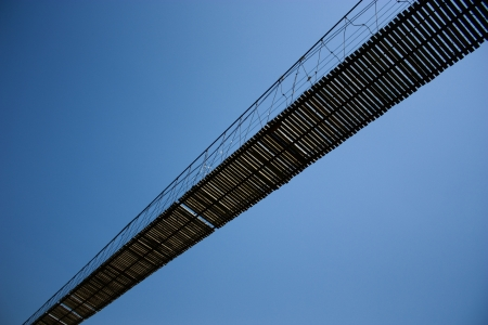 Rope bridge in Tilted angle. photo