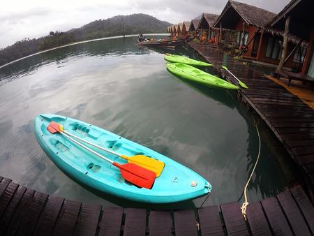 raft: kayak boat and raft house in lake, Suratthani Thailand