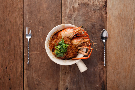 Casseroled Shrimp with glass noodle,Ready to eat. On The Table