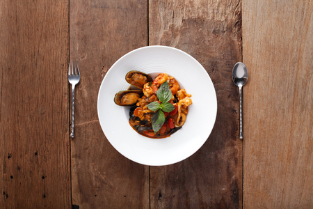 Black spaghetti with seafood,Ready to eat. On The Table Stock fotó