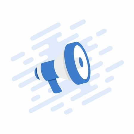 Megaphone, flat loudspeaker icon color. Megaphone sign icon. Megaphone with waves of lightning. Megafon icon. Vector illustration.