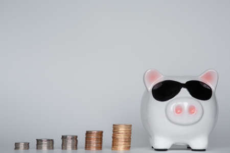 financial savings for a dignified life. piggy bank on a white background. coins 스톡 콘텐츠