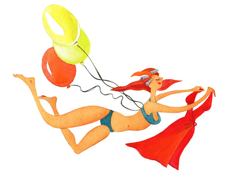 Slender girl in curlers and bikini flying on balloons and holding a small fee. On a white background Stock Photo