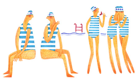 Five girls near the swimming pool on white background