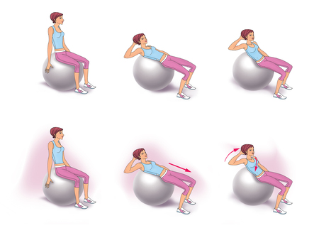 fitball: The girl sitting on fitball doing twisting exercise to strengthen the abdominal muscles