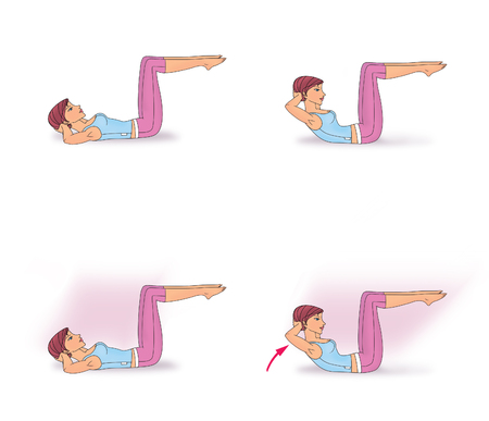 Girl lying on the back with his knees doing twisting exercise to strengthen the abdominal muscles Stock fotó