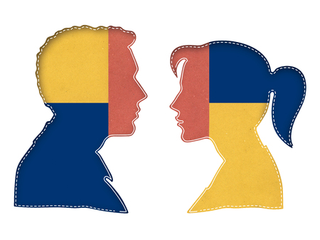 Colorful silhouette of the head of man and woman face to face, and linear and dashed stroke inside, isolated on white background.
