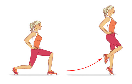 The girl is performing a backward exercise to strengthen the straight thigh muscle, isolated on a white background