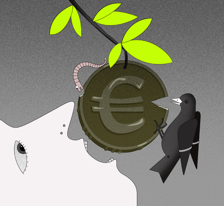 The face of a person in profile with an open mouth, tries to bite off the coin with a euro sign on the branch. Coin with chipped edges. A worm and a bird bite off pieces of a coin. On a graphic background. Computer simulation of graphic drawing.