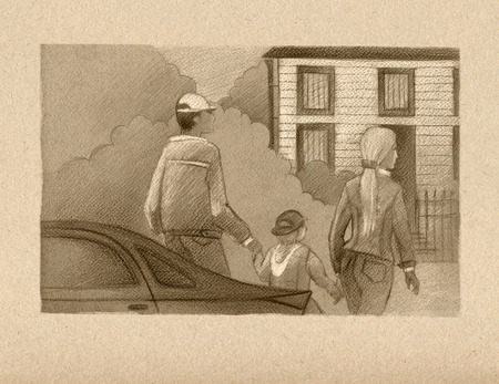ownership: Family: father, mother and child, go from the car to the white house in the back of the garden.  Drawing with sepia pencils on textured paper.