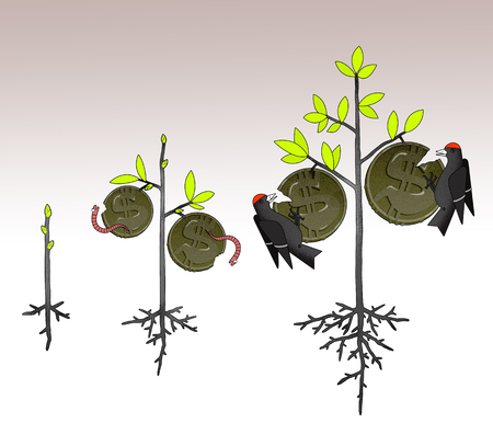 Growth of income, taxes and inflation in the form of a money tree with coins, eaten by worms and birds on the branches. On a stylized graphical background