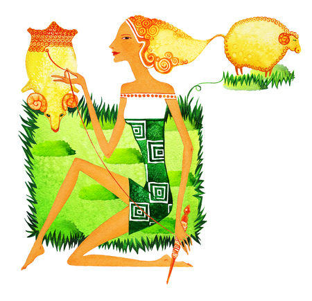 Barefoot girl in the image of a cowherd boy, as a symbol of the sign of the zodiac of Aries. A young girl spins yarn from a fleece sitting on a green lawn among grazing sheep. Фото со стока