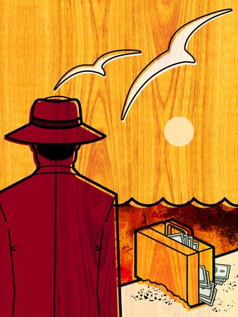 背景にはカモメが飛ぶと夕日の海の端に、視聴者に背を向けて、帽子をかぶった男が立っています。お金が付いているスーツケースは波打ち際の砂 写真素材