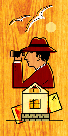 The man in the hat is looking through binoculars. Overhead, seagulls fly, the sun is shining, at the bottom is a house and an air ticket. On a wood texture background