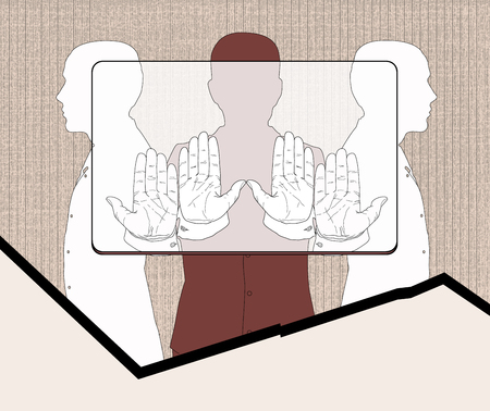 according: Three silhouettes of men holding a provisional rectangle, according to the proportions corresponding to the bank plastic card. Linear drawing on a texture background