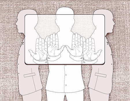 Three silhouettes of men holding a provisional rectangle, according to the proportions corresponding to the bank plastic card. Linear drawing on a texture background