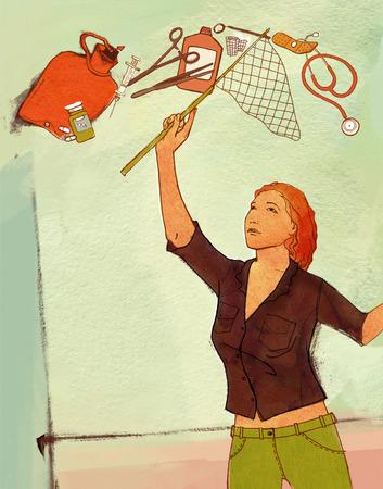 wärmflasche: Eine Frau fängt fliegende Gegenstände um ihre medizinische Versorgung: eine Heißwasserflasche, eine Spritze, eine Tablette, eine Flasche, eine Schere, eine Klemme, einen Verband. Auf einem strukturierten Hintergrund