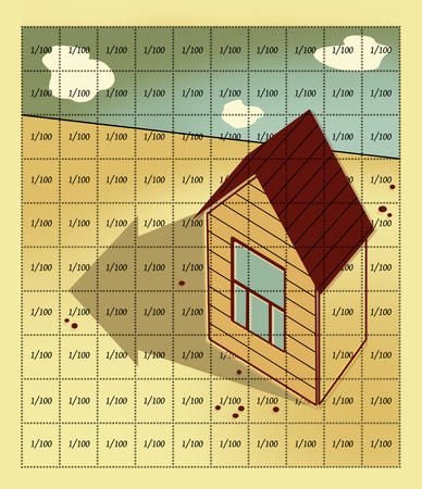 investment concept: The house with a gable roof and one window stands on the field, lined by 100 cells with perforations. The shadow of the house has the shape of an arrow pointing along the line of the cut Stock Photo