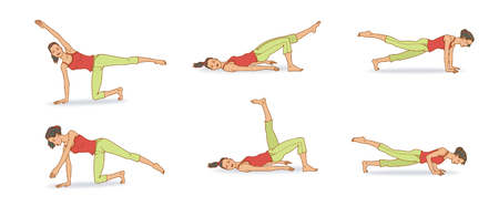 Girl in a red T-shirt and light green shorts does exercises on a Pilates program: kick their feet, hands, and push-ups. On a white background