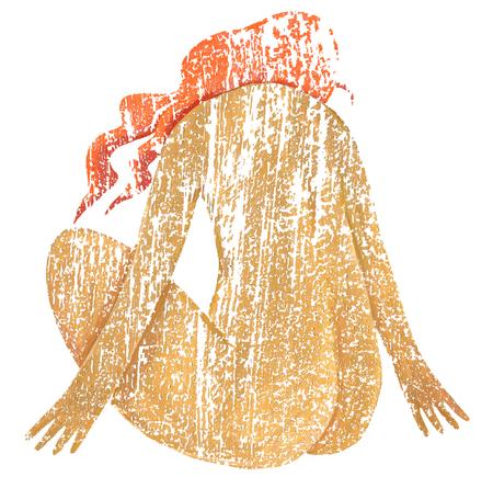 convulsión: Mujer de textura desnuda en torsión plantean sobre un fondo blanco
