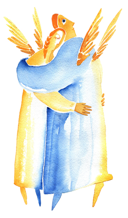 Man and woman in embrace on a white background