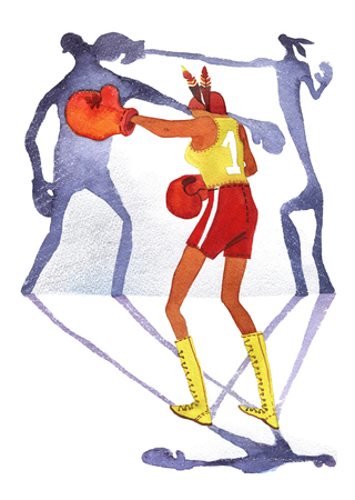 Girl boxing with two shadows