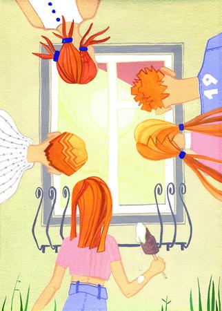snoop: Five people peep in the yellow house window