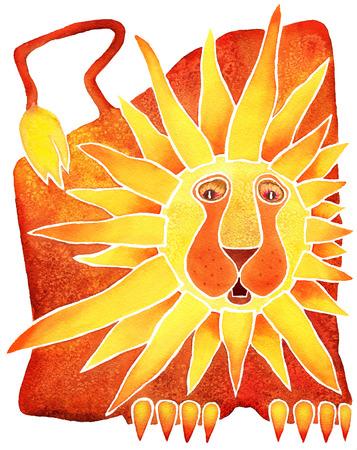 Astrology symbol Leo white background Banque d'images