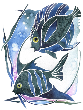 ascendant: Astrology symbol two fishes on white background