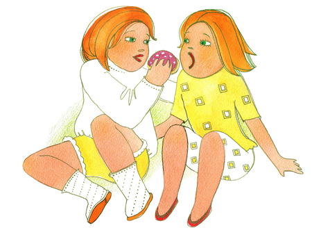 Two girls eating  bread with wurst on a white background