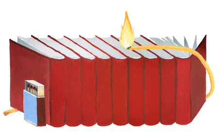 conflagration: Red books set on the fire on a white bsckground