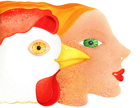 Rooster and girl head on a white background 版權商用圖片 - 77477372