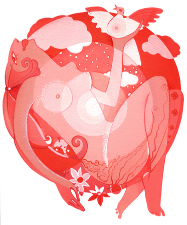 Woman with dove and flowers in the red  round on a  white background