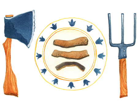 Three part of bread on the plate and axe with pitchfork on white background