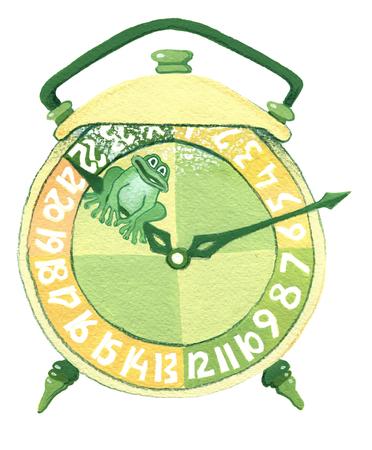 ヒキガエルの白い背景に緑の目覚まし時計