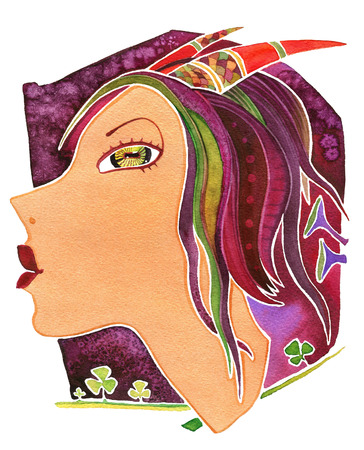 Face girl as astrology symbol Capricorn on pattern  background