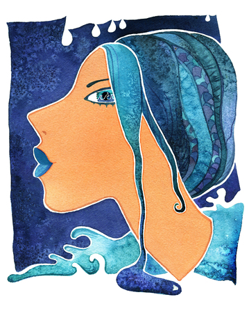 Face girl as astrology symbol Aquarius on pattern  background Stock Photo